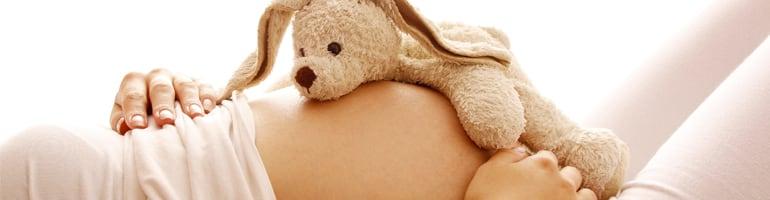 Femme enceinte avec peluche