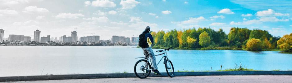 Homme à vélo, pollution